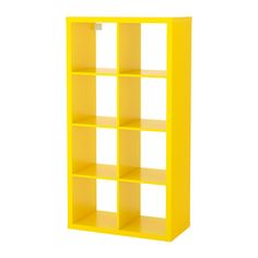 IKEA - KALLAX, Shelf unit, yellow, Choose whether you want to place it vertically or horizontally to use it as a shelf or sideboard. This furniture must be secured to the wall with the enclosed wall anchoring device. Bookcase Storage, Cube Storage, Shelving Units, Ikea Kallax Regal, Ikea Malm, Ikea Kallax Shelf Unit, Ikea Yellow, Bright Yellow, Shopping
