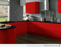 Red kitchen cabinets have some stylish ideas to bring kitchen beautiful and interesting. You can bring it by one of 20 stylish ways to work with red kitchen cabinets. I will tell you the reason why this year will be the year of red kitchen cabinets. Red Kitchen Cabinets, Contemporary Kitchen Cabinets, Contemporary Kitchen Design, Kitchen Cabinet Design, Interior Design Kitchen, Kitchen Designs, Kitchen Modern, Contemporary Interior, Country Kitchen
