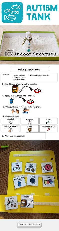 Autism Tank: Making Snow Inside (FREEBIE!) - Included is a Visual Recipe. Also included in the Freebie are the pictures you would need to make a communication board so your nonverbal kids can request materials throughout the activity.