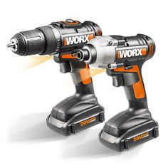 Shop WORX Lithium-Ion Cordless Drill/Driver and Impact Driver Combo Kit at Lowe's Canada. Find our selection of power tool combo kits at the lowest price guaranteed with price match. Cordless Drill Reviews, Drill Set, Home Workshop, Garage Workshop, Workshop Ideas, Thing 1, Impact Driver, Drill Driver, Wheelbarrow