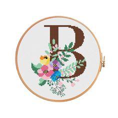 Spring monogram B cross stitch pattern letter B alphbet