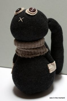 Charcoal Bunny Sock Doll by Sew in the Moment now on Esty