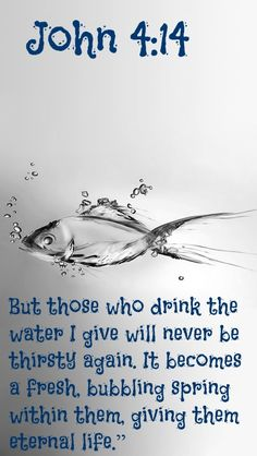 """John 4:14 (NLT) - But those who drink the water I give will never be thirsty again. It becomes a fresh, bubbling spring within them, giving them eternal life."""""""
