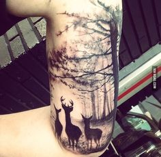 I kind of like this idea. Maybe a wolf or a bear instead of deer and make the tree bigger so the branches can reach to my collarbone.