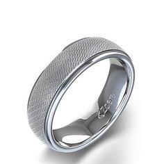 Unique Men's Wedding Ring in 14k White Gold