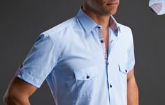 Blue Short Sleeved Rays Lining, Dress shirts - Dress Shirts for Men - French-Shirts.com