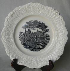 Antique Ridgway Black English Transferware Plate - Romantic Picnic Scene @ www.englishtransferware.etsy.com