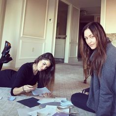 """""""Sitting with Morgan looking at fabric swatches and different materials for our 2016 @FreedomOfAnimals spring collection! I'm so inspired by your feedback,…"""""""