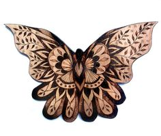 Butterfly Wood Wall Hanging Pyrography Wood by GlenoutherCrafts