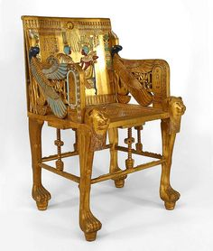 French Egyptian Revival Style (Early Cent) Carved Gilt Throne Style Arm  Chair With Cane Seat.