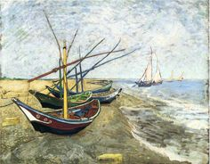 Fishing boats on the Beach at Les Saintes-Maries-de-la-Mer - Vincent van Gogh - WikiPaintings.org