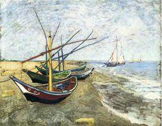 Fishing boats on the Beach at Les Saintes-Maries-de-la-Mer - Vincent van Gogh - WikiPaintings.org