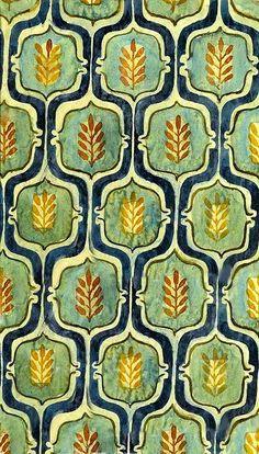 "Elisabeth Vellacott: ""Textile Design - Small Pink & Green, ca. Textile Design - Small Pink & Green, 8 x 8 in. Motifs Textiles, Textile Patterns, Textile Prints, Paper Patterns, Lino Prints, Block Prints, Stoff Design, Buch Design, Design Textile"