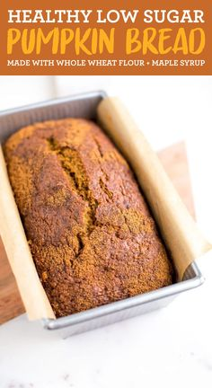 Sweetened only with maple syrup, this delicious healthy low sugar pumpkin bread is made with whole wheat flour and it's vegan! #vegan #pumpkin #pumpkinbread #healthybaking #lowsugar #maplesyrup #wholewheat #fall #eatingbirdfood Healthy Dessert Recipes, Healthy Foods To Eat, Healthy Baking, Healthy Sweets, Yummy Recipes, Breakfast Recipes, Vegetarian Recipes, Desserts, Sugar Pumpkin