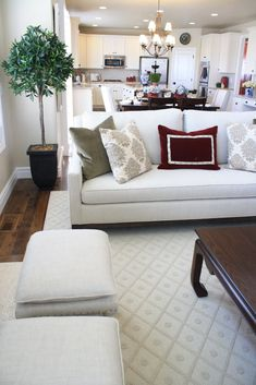 Love white furniture and open floor plans...(house no. 2 will have huge kitchen and open floor plan...and be newer)
