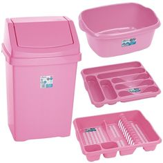 pink kitchen accessories | Baby Pink - Kitchen bin and Washing-Up 4 piece Set