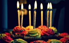 Colored Muffins Celebration Stars Cake BirtHDay Candles Fire Flame HD Wallpaper