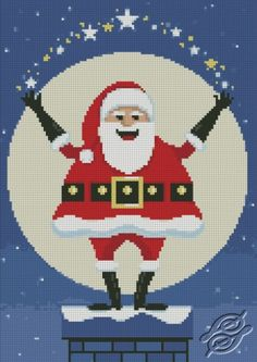 Santa On Chimney - Free Cross Stitch Pattern