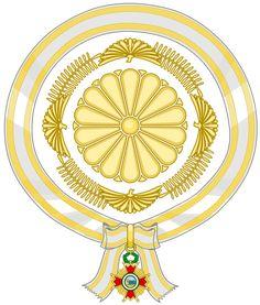 Emblem of the Prince Akishino (Order of Isabella the Catholic). Egyptian Art, Wikimedia Commons, Coat Of Arms, Textile Design, Catholic, Pattern Design, Prince, Flag, Chrysanthemums
