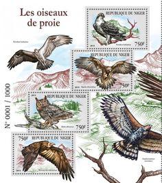 NIG15403a Birds of prey (Pandion haliaetus, Aquila chrysaetos, Bubo africanus, Necrosyrtes monachus)