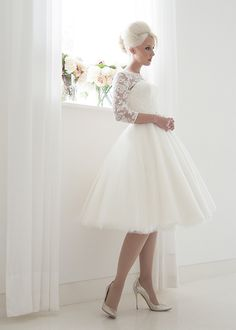 short tea length tulle and lace wedding dress with 3/4 sleeves