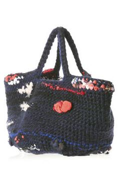 wool crochet shopper bag with silk and cotton woven applications - DANIELA GREGIS