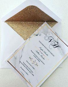 Gold Marble Wedding Invitations