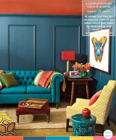 """The best approach when combining two hues to make a colour statement is to pick from opposite sides of the colour wheel. This living room is a fine example of this decorating method: the teal blue walls paired with the burnt orange ceiling results in a striking yet balanced scheme."" via Bright.Bazaar"