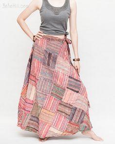 Rustic Stonewashed Patchwork Warp Around Gypsy Skirt (PS-6) Hippie Bohemian, Hippie Style, Hippie Skirts, Wrap Around Skirt, Gypsy Skirt, Hippie Outfits, Tunic Shirt, Boho Chic, Rustic