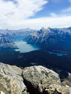A view of Lake Minnewanka from the top of Cascade Mountain in Banff National Park Canada Trip, O Canada, Alberta Canada, Canada Travel, Cascade Mountains, Rocky Mountains, Canadian Forest, Banff National Park, Places Of Interest