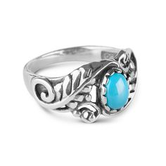 Southwestern style meets boho chic in this beautifully dimensional American West Jewelry Sleeping Beauty Turquoise Floral Ring!