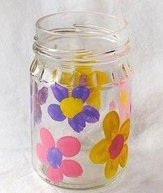 Fingerprint Flower Vase!  {capture the kiddo's fingerprints forever with this fun Mason Jar gift ~ great for Mother's Day or Grandparent's Day!} #masonjars #vases