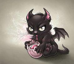 Creepy Cute on Creepy-Chibi - DeviantArt Wallpaper Kawaii, Desenho Tattoo, Goth Art, Creepy Cute, Dragon Art, Cat Tattoo, Skull Art, Mythical Creatures, Fantasy Art
