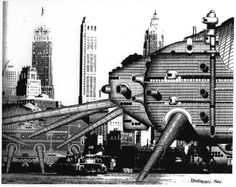 The Walking City by Archigram [Ron Herron] in 1963. Project that is constituted by intelligent buildings or robots that are in the form of giant, self contained living pods that could roam the cities. The form derived from a combination of insect and machine and was a literal interpretation of Corbusier's aphorism of a house as a machine for living in.