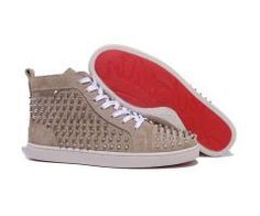 4824277d084 red bottoms for men · 2012 Best Cheap Christian Louboutin Louis Silver  Spikes High Top Nubuck Leather Mens Sneakers Apricot CODE