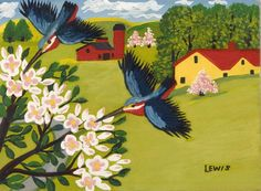 Apple blossoms by Maud Lewis