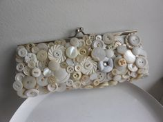Cream and white vintage button evening bag, bridal clutch, ooak upcycled vintage purse, Buttons of fun.