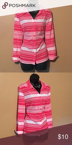 Amazing pink and white button down New condition! Pink and white, bundle and save!! Tops Button Down Shirts