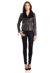 BCBGeneration Women's Vita Leather Jacket, Charocal, Small BCBGeneration BUY NOW!