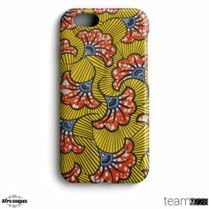 Afrocoques loincloth WAX - African fabric - Flower patterns orange - for iPhone and Samsung Galaxy Iphone 7 Coque, Coque Smartphone, New Iphone, Samsung Galaxy S5, Galaxy Phone Cases, Galaxy S7, African Accessories, African Jewelry, Fabric Earrings