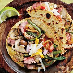 Wild Mushroom, Flank Steak, and Poblano Tacos   CookingLight.com
