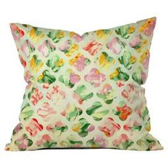 """Throw pillow with a trellis motif over a floral background from DENY Designs. Made in the USA.  Product: PillowConstruction Material: PolyesterColor: MultiFeatures:  Designed by Arcturus for DENY DesignsMade in the USAInsert included Dimensions: 18"""" x 18""""Cleaning and Care: Spot treat with mild detergent"""