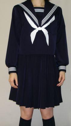 W21big衿深め 紺セーラー服ビッグサイズ衿・袖・胸当て 白3本線【楽天市場】