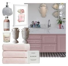 """Marble+blush bathroom"" by marjolo07 on Polyvore featuring interior, interiors, interior design, maison, home decor, interior decorating, Christy, Marmont Hill, Soohyang et French Girl"
