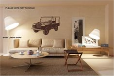 """1948 Landrover Series 1 - 80"""" - Wall Decal - Wall art Sticker - ( Black outline shown ) by thewalldecalshopuk on Etsy"""