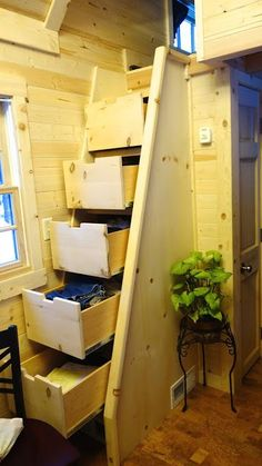 Off-grid Tiny House On Wheel Under Stairs Storage