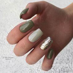Glitter Accent Nails, Gold Nails, Glitter Manicure, Polygel Nails, Stiletto Nails, Olive Nails, Green Nail Designs, Easy Nail Designs, Accent Nail Designs