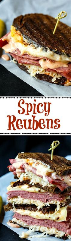 Try these Spicy Reuben Sandwiches on Martin's Bread! Reuben Sandwich, Best Sandwich, Soup And Sandwich, Sandwich Recipes, Gourmet Sandwiches, Wrap Sandwiches, Vegetarian Sandwiches, Panini Sandwiches, Tacos
