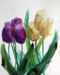 Tulip Garden Original Floral Watercolor Painting by Angela Moulton
