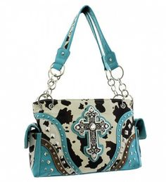 Blue Cowprint Cross Conceal and Carry Purse - Handbags, Bling & More!